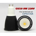 Bombilla led 8W spotlight Gu10 chip epistar luz natural 4000k 680lm